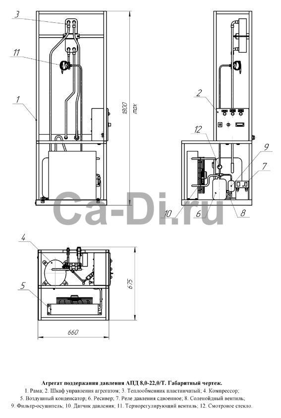 Габаритный чертеж агрегата поддержания давления в цистерне для транспортировки СО2 АПД 8,0...22,0/Т