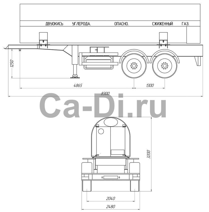 Габаритный чертеж полуприцепа-цистерны для транспортировки жидкой двуокиси углерода ЦЖУ 10