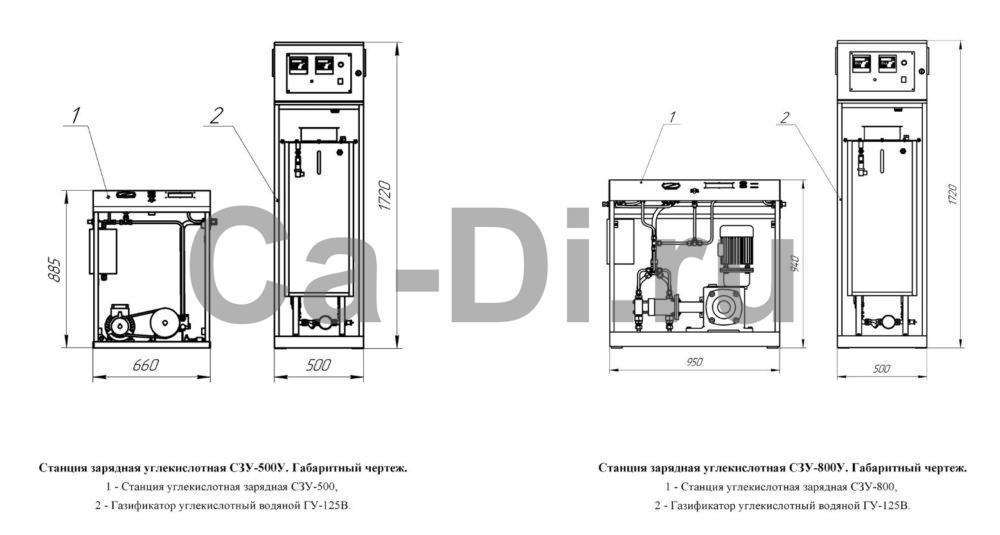 Габаритный чертеж станции зарядной углекислотной универсальной СЗУ-500У