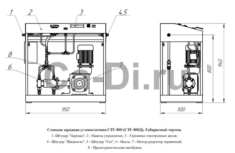 Габаритный чертеж станции зарядной углекислотной СЗУ-800 и СЗУ-800Д