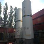 Углекислотное оборудование производства ООО «Кади» в процессе эксплуатации (резервуары для хранения углекислоты РДХ-20,0-2,0 вертикального типа - 2 шт.)